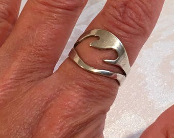 Sterling Silver 925 Open Work Flame Band Ring Handcrafted Jewelry Handmade Size 7