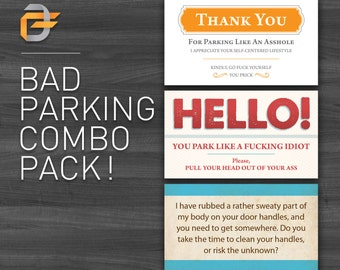 """Bad Parking Cards COMBO Pack!! Funny, Hilarious, Business Cards!! Gag Gift, Birthday Gift. 30 business cards - 3.5"""" x 2"""""""