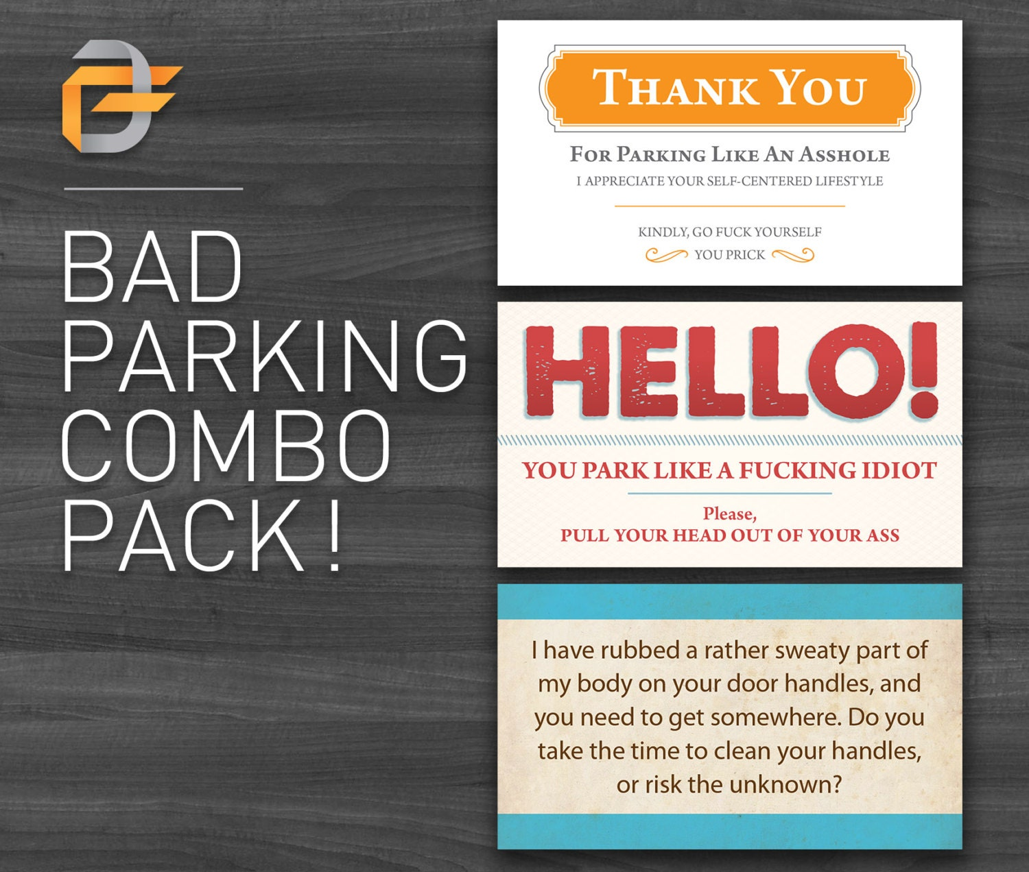 Cheap Stocking Stuffer Bad Parking Cards COMBO Pack Funny