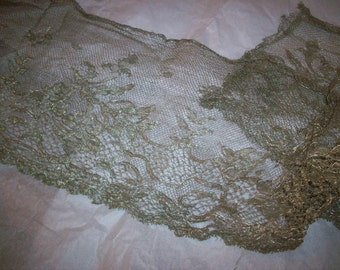 silver metal and silk lace yardage french antique superb