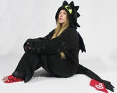 Toothless inspired black dragon cosplay kigurimi (onesie, jumpsuit, costume, hoodie, wings, tail, gothic, fantasy)