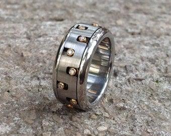 Men's Unique Spinner Ring, Diamond Spinning Band Ring, Stainless Steel Ring, Maze 18k Gold Kinetic Jewellery, Gear Ring, Modern Ring, Berman