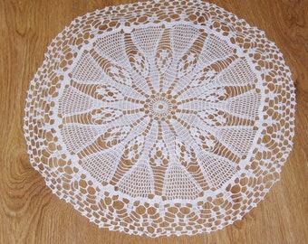 Cotton crocheted white doily Hand made round traycloth Lacework lace napkin Crochet Shabby Chic Made in Poland Polish folk art dresser scarf