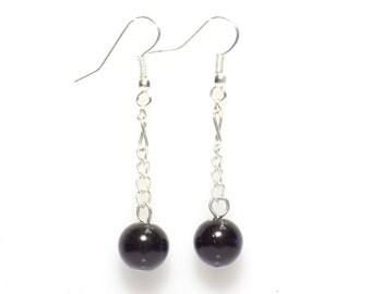 Black earrings, long earrings, dangle earrings, pearl earrings, bridesmaid earrings, long earrings,  beaded earrings, glass pearl earrings