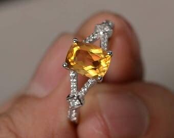 Natural Citrine Ring Split Band Engagement Ring Silver Yellow Crystal Ring Gemstone Ring