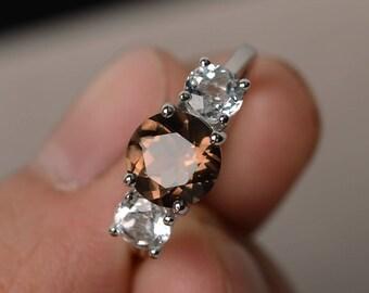 Natural Smoky Quartz Ring Silver Three Stone Ring Round Cut Engagement Rings