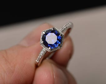 Round Cut Sapphire Ring Blue Gemstone Ring Silver Engagement Ring Promise Ring