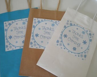 Set Of 6 Frozen Snowflake Theme - Thank's For Coming - Favor Bag & Label Sets - Create Beautiful Guest Favors For Your Event