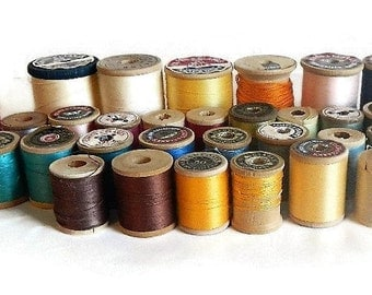 Vintage Lot of 43 Assorted Wooden Spools - home decor, sewing room decor, thread, decoration, notions, sewing supply, collectible