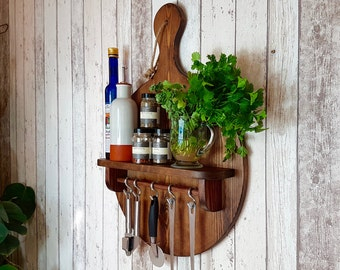 Beautifully Crafted Dark Oak Finished Pizza Paddle Display/Storage Shelf - Perfect For Any Kitchen