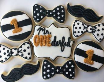 Mr. ONEderful Cookie Assortment - 1 Dozen; Boy's 1st Birthday Cookies; Bow Ties; Little Man Cookies; mustache cookies; #1 Cookies