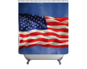 American Flag Shower Curtain Red White Blue Patriotic Bathroom Stars U0026