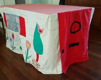 Tablecloth Cubby House. Card table tent. Gorgeous custom designed play house. Made to your own size and theme.