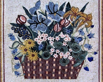 Forget-me-Not and Daisies Flower Mosaic