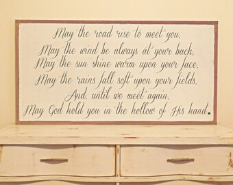 Irish Blessing May the Road Rise to meet you Wood Sign Inspirational Wooden Sign St Patricks Day Wedding Gift Anniversary Gift