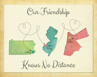 Our Friendship Knows No Distance Gift Print, Personalized Gift for Friends, Long Distance Friend Gift, Going Away Gift Idea, Any 3 Places