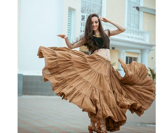 Boho skirt, gypsy dance skirt, tribal skirt, 25 yards skirt, flamenco skirt 'Chocolate'