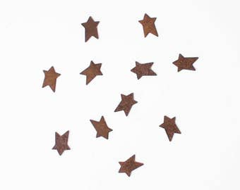 Tiny Rusty Tin Stars - Primitive Rustic Metal Stars