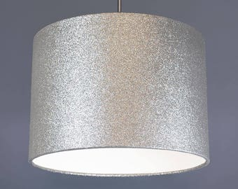 Silver Glitter Metallic Fabric Drum Lampshade Pendant
