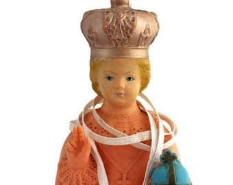 Infant of Prague Statue with Scapulars lady of Mt Carmel Simon Stock Plastic Vintage