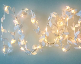 2 10m Tiny green leaf garland fairy wire with mini led