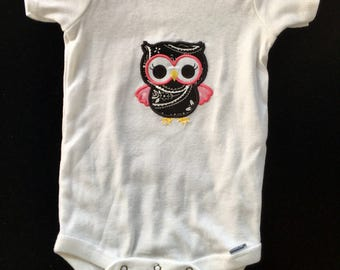 3T Onesie with Embroidered Applique Owl