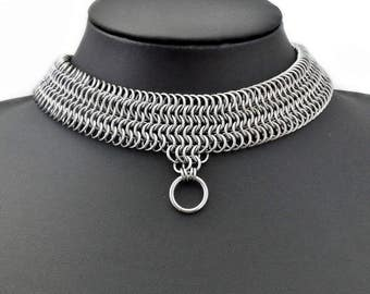 Stainless Steel Chainmaille Slave Collar Choker Necklace