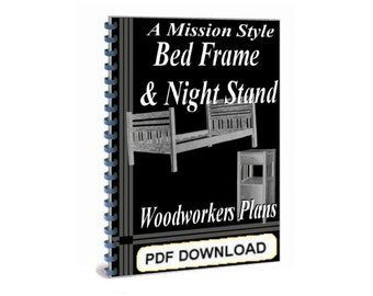 Mission bed etsy for Mission style bed frame plans