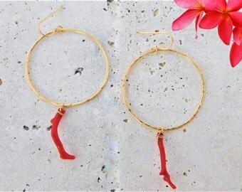 Red Coral Branch Earrings, Red Coral Hoop Earrings, Italian Coral Earrings, Gold Coral Earrings, Red Coral Branch Hoop Earrings