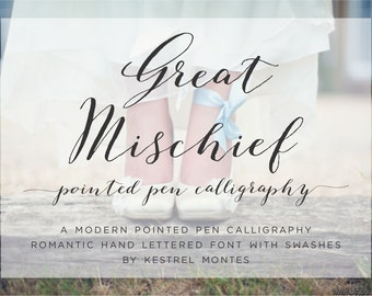 Handlettered Calligraphy Font by Kestrel Montes, Great Mischief Modern Calligraphy Font, Digital Font Web Version Included, Wedding Font