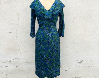 Vintage 1950s printed silk day dress