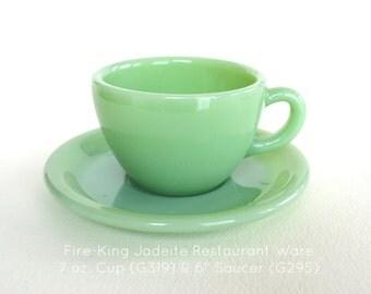 """Fire-King Jadeite Restaurant Ware 7 oz. Cup & 6"""" Saucer #0045"""