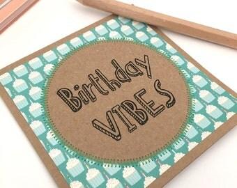 Birthday card cupcakes recycled kraft card / birthday vibes / handmade card