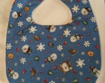 Baby bib snowman iceskates snowflakes glitter mittens   handmade