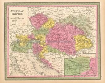 Austrian Empire Antique Map Mitchell 1846 Original Austrian Decor Housewarming Anniversary Gift Ancestry History Gift