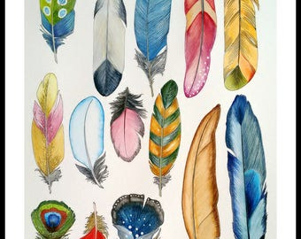Feathers collection .Original watercolor painting. Unique artwork