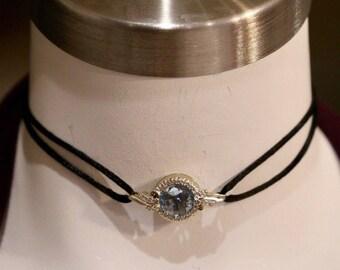 Vintage 14k Solid Gold Genuine Diamond and Blue Topaz Choker Pendant