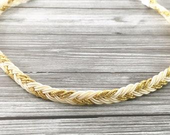 Gold Sparkle/Cream Braid Baby Headband - Gold Glitter/Cream Braided Adorable Trim Headband - Little Girl/Toddler Braided Gold Headband