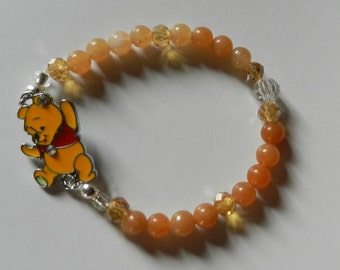 So Cute! Animated Bear Beaded Stretch Bracelet V5456 ready to ship