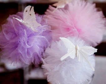 15 Tulle pom poms Centerpiece,Party Decoration,Pom Pom Favors, tulle Pom Pom, butterfly, table decoration,baby shower decoration,fairy wands