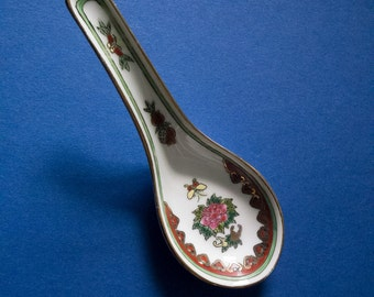 Vintage Chinese porcelain spoon, oriental rice noodle spoon, lotus design