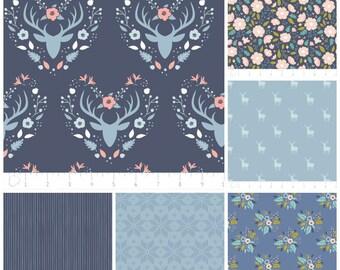 Woodland Fabric - Fat Quarter Bundle - Blue Woodland Fabric Bundle - Modern fabric - Quilt Fabric - Includes 6 Fat Quarters