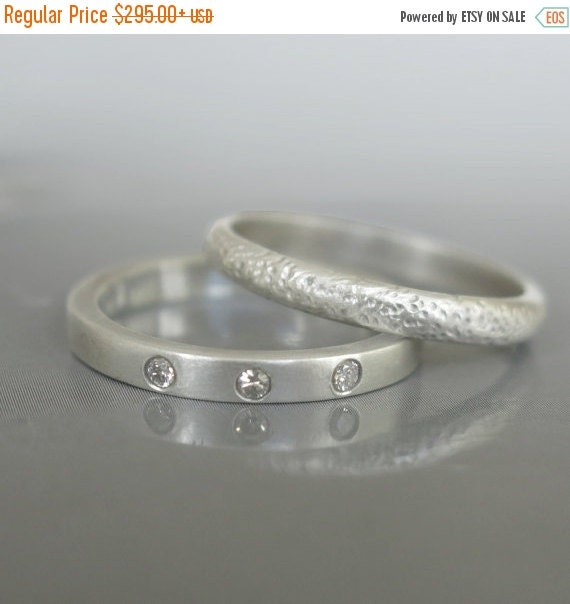 ON SALE Modern wedding ring set Engagement by RAVITKAPLANJEWELRY