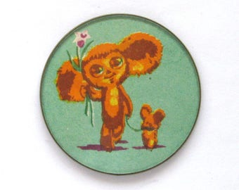 Cheburashka with flowers and dog, Character, Soviet cartoon, Vintage collectible badge, Soviet Vintage Pin, Round Badge, Made in USSR, 1980s