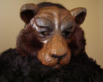 Masquerade mask Bear mask Bear costume Paper mache Bear mask Paper Bear mask Animal mask