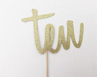Ten Cake Topper - Script Number Cake Topper - Gold Glitter - Birthday Cake Topper