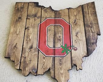Super Rad Reclaimed U0026 Upcycled Ohio State Buckeyes Rustic Wood Sign Cutout  Wall Art Decor