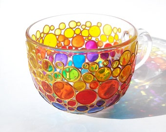 Large Mug Jumbo Coffee mug Glass Cup  Tea Mug Hand painted Sun catcher big cup Multi Coloured Bubbles Mug Painted Glass cup