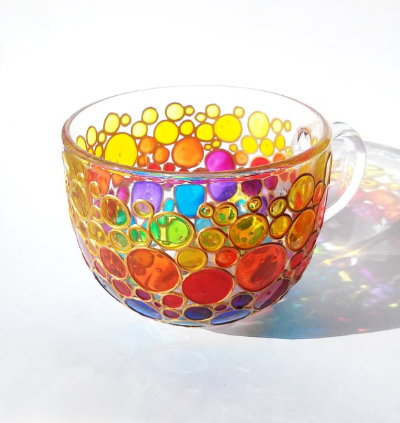 Large Rainbow Mug Jumbo Coffee Mug Glass Cup Tea Mug Hand