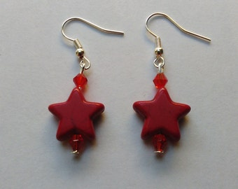 Red Coloured Turquoise stone stars,  beaded dangly Earrings